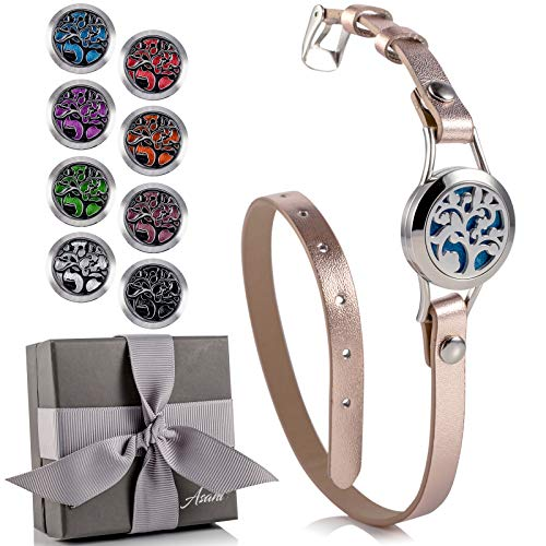 Essential Oil Diffuser Aromatherapy Bracelet w/FREE Gift Box | Stainless Steel Pendant Locket with Leather Straps | 8 Changeable Color Scent Pads | Diffusing Bangle Jewelry Set for Women and Girls