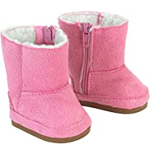 Doll Boots Pink Suede Ewe Boot, 18 Inch Doll Shoes Fits 18 Inch American Girl Dolls
