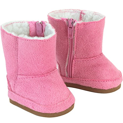 Sophia's Doll Boots Pink Suede Ewe Boot by, 18 Inch Doll Shoes Fits 18 Inch American Girl Dolls