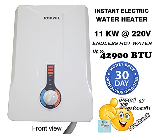 Electric Tankless Water Heater Instant On-Demand 11KW @ 220V - 12.6KW @ 240V - 2.9 GPM (Instantaneous Gas Water Heaters)