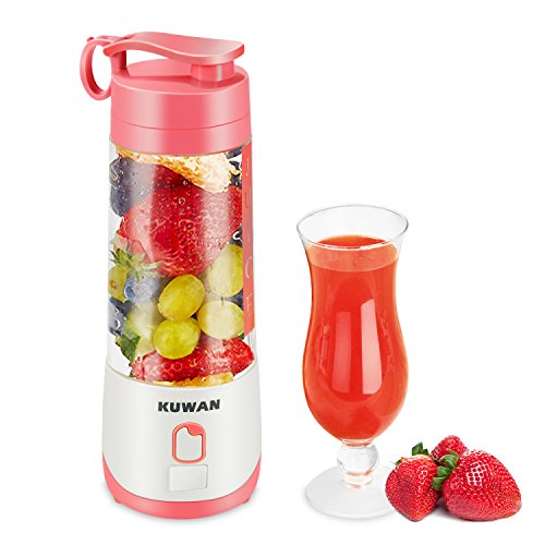 KUWAN Electric Fruit Juicer Mini Rechargeable portable Blender with USB Charging Cable and installed safety protection program