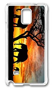 MOKSHOP Adorable Elephants Silhouette Hard Case Protective Shell Cell Phone Cover For Samsung Galaxy Note 4 - PC Transparent