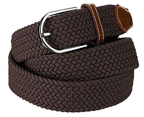 NYFASHION101 Rounded Metal Buckle Brown Inlay Elastic Braided Woven Stretch Belt, Chocolate Brown - 4XL