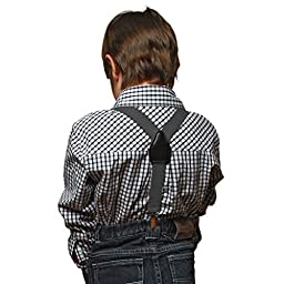 Suspenders for Kids Boys and Baby - Premium 1 Inch Suspender Perfect for Tuxedo - Grey (30\