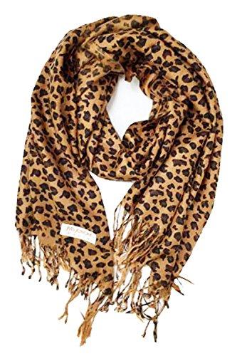 Paskmlna Animal Print Fringed Shoulder Pashmina Wrap Scarf - Leopard Zebra Patterns (Brown Leopard)