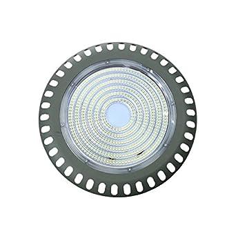 Campana LED UFO circular luz blanca 6000K de 300W apta para interior y exterior para naves, garajes, almacenes con chips de alta potencia SMD3535 PF0,9: ...