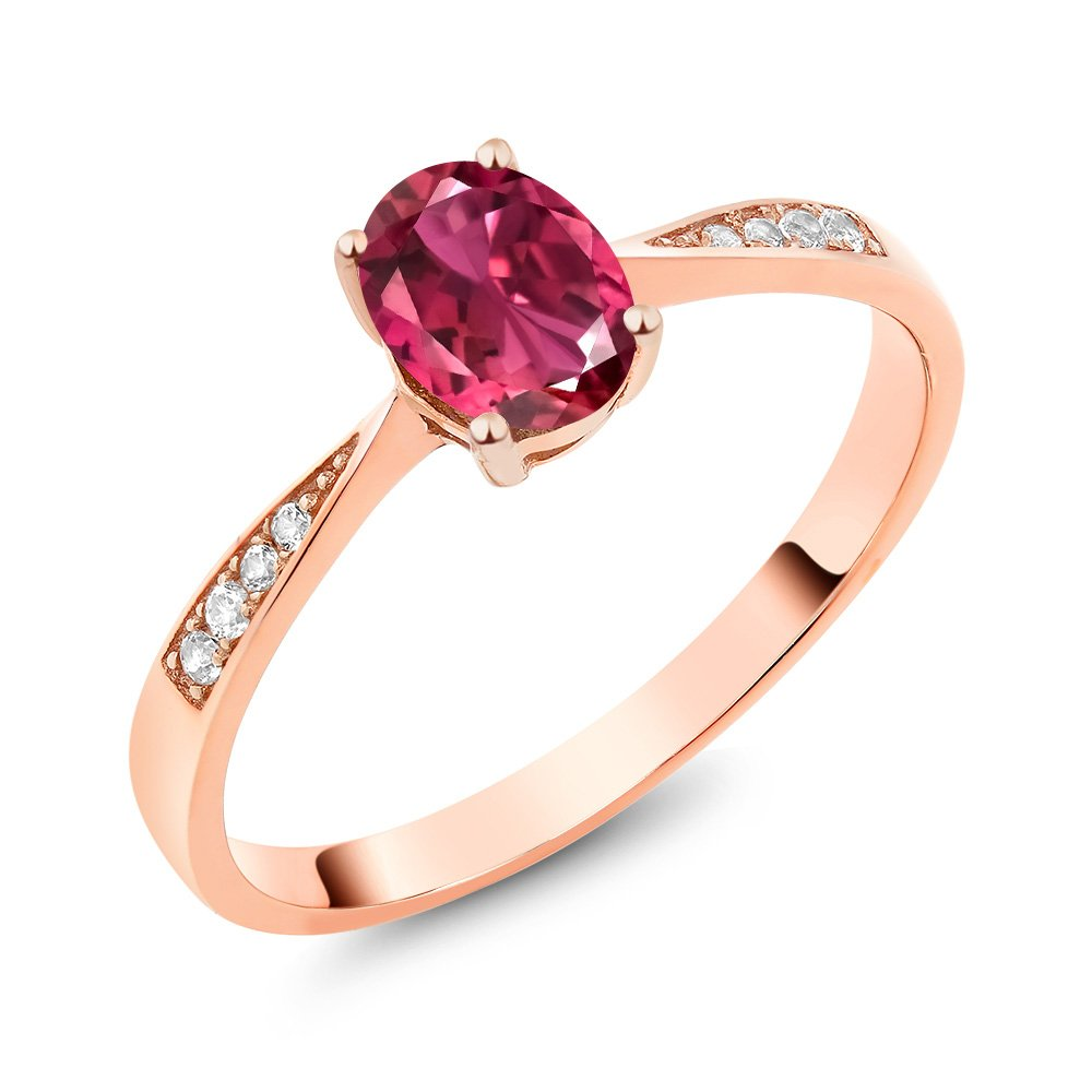 10K Rose Gold Diamond Ring with 0.76 Ct Oval Pink Tourmaline AA (Available in size 5, 6, 7, 8, 9)