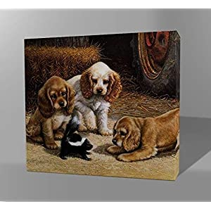 [Wooden Framed] DIY Paint by Numbers Kit Oil Painting Canvas for Adults and Children (16 by 20 inch) - Dog Series (Dogs and Squirrel)
