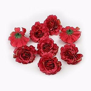 Artificial Flower 20pcs 5cm Heads Silk Rose Flowers Wedding Decoration Scrapbooking DIY Gift Box Fake Flower (red) 35