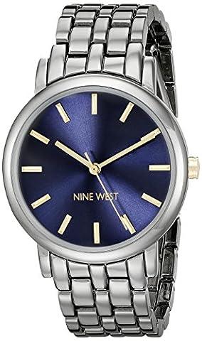 Nine West Women's NW/1805BLGN Gunmetal Bracelet Watch - Navy Water Resistant Bracelet