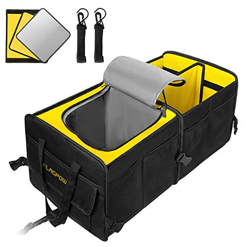 FLAGPOWER Car Trunk Organizer, Collapsible Portable Multi Compartments Trunk Organizer with Premium Insulation Cooler Bag Non Slip Strips for SUV, Vehicle, Truck, Auto, Grocery (New Version)