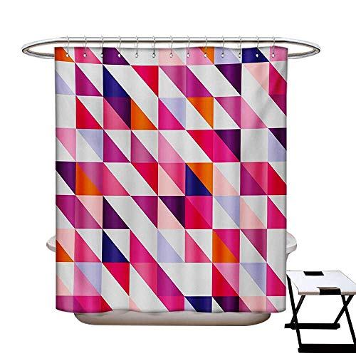 Navy and Blush Shower Curtains Fabric Geometric Mosaic Design Hipster Colorful Triangles Artful Aztec Retro Style Bathroom Decor Set with Hooks W48 x L84 Multicolor from BlountDecor