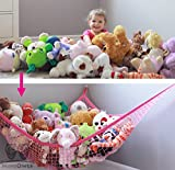 MiniOwls PINK Storage Hammock XL Toy Organizer (also comes in White) Quality De-cluttering Solution & Inexpensive Idea for Every Room at Home or Facility -3% is Donated to Breast Cancer Foundation