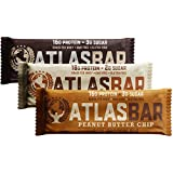 Atlas Bar - Keto/Low Carb Friendly Protein Bar, Variety Pack (12-Pack, 4 of Each) - Grass Fed Whey, Low Sugar, All Natural, Gluten Free, Soy Free, and GMO Free