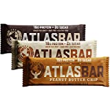 Atlas Bar - Keto/Low Carb/All Natural Protein Bar, Variety Pack (12-Pack, 4 of Each) - Grass Fed Whey, Low Sugar, All Natural, Gluten Free, Soy Free, and GMO Free