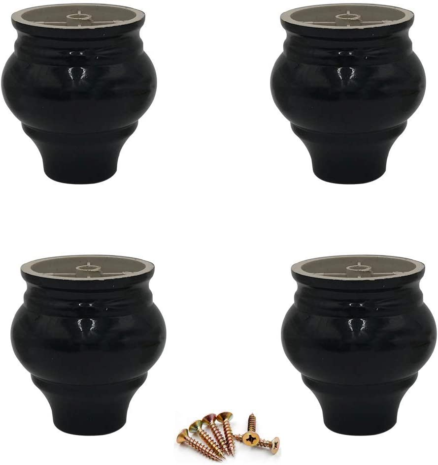 MWPO Set of 4 Plastic Furniture Parts Legs,Round Bun Feet,Gourd-Type Replacement Sofa Leg,DIY Chair Coffee Table Cabinet Couch Loveseat Ottoman Dresser Armchair TV Accessories,with Screws (Black)