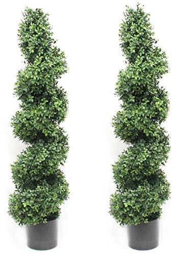 Silk Road Home Boxwood Spiral Topiary Tree 4 Foot (2 Pack) Premium Heavy Duty Realistic Stem Artificial Plant Home Decor or Office Fake Tree by