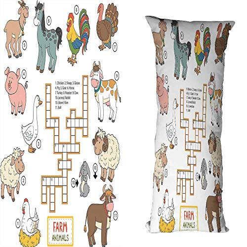 - duommhome Kids Game Personalized Pillowcase Crossword Educational Puzzle for Children with Different Farm Animals and Numbers Machine Washable W17.7X L27.5 inch Multicolor