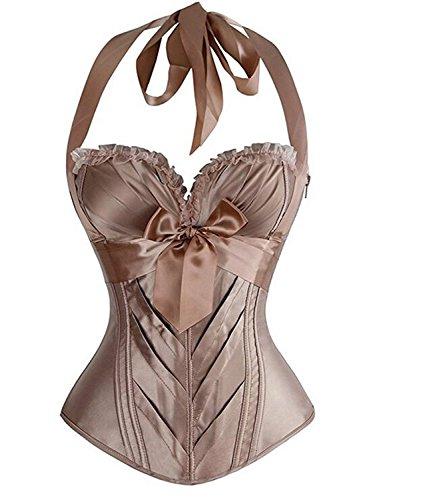 AIZEN Women's Burlesque Fashion Satin Halter Boned Zipper Bustier Corset Top Vintage Fashion Khaki M (Style Vintage Corsets)