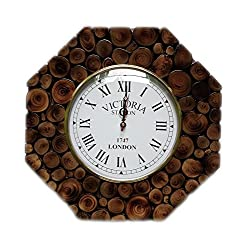 Hand Crafted Sliced Wooden Log Decorative Wall Clock | Premium Wall Decor Accents | Hind Handicrafts (Teak Wood) (Octagonal)