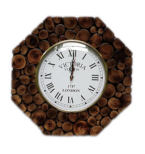 Hand Crafted Sliced Wooden Log Decorative Wall Clock | Premium Wall Decor Accents | Hind Handicrafts (Teak Wood) (Sliced Log)