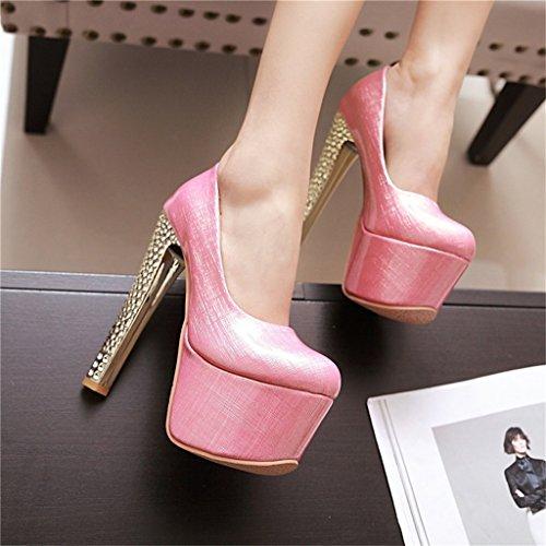 ALUK- Chaussures pour femmes / à tête ronde / chaussures individuelles / talons hauts / banquet / chaussures de soirée ( Couleur : Rose , taille : 34-Shoes long220mm ) Rose