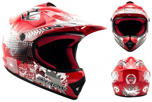 ARROW HELMETS AKC-49 Red Moto-Cross-Helm Cross-Helm Kinder-Cross-Helm Helmet Sport Junior Kids Quad Pocket-Bike Enduro MX Motorrad-Helm Cross-Bike Kinder-Helm, DOT zertifiziert, inkl. Stofftragetasche, Rot, XS (51-52cm)