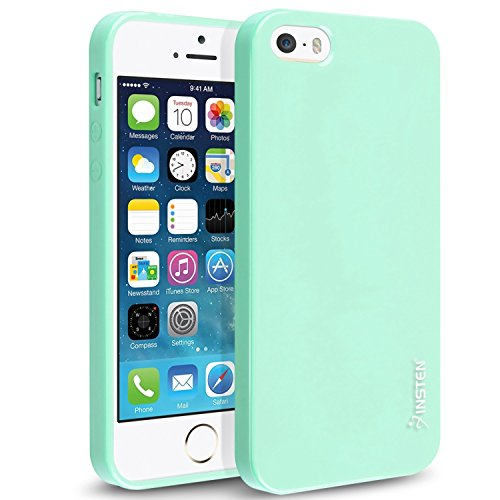 Insten Case Compatible with iPhone SE, Insten TPU Rubber Skin Case Cover Compatible with Apple iPhone 5 / SE / 5S, Mint Green Jelly