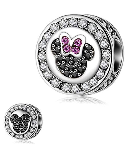 (Junolla Lovely Mouse Bead Charm 925 Sterling Silver Mickey Minnie Mouse Charms for Bracelet Double Sided Bead Charm for Women)