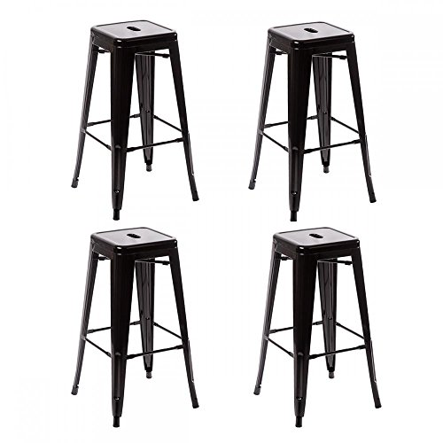 FDW Metal Stools Bar stools 30 Inch Height Stackable Barstools Indoor Outdoor Dining Backless Kitchen Bar Stools Set of 4