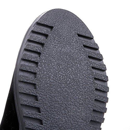 Esmerilado Redonda Agoolar Sin Medio Mujer Tacón Negro Tachonado Puntera Cordones Botas U5w67qw