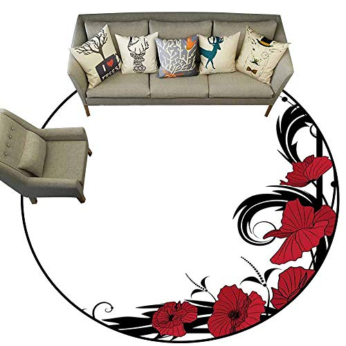 Anti Slip Round Doormat Indoor,Art Nouveau,Poppy Bouquet Branches Romantic Pastoral Idyllic Meadow Blossom Vintage,Black Ruby White,Floor Rug Shoe Scraper Door Mat Rug3 feet