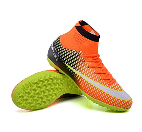WSK Football shoes men's shoes grass broken nails children training soccer shoes adult students children high help soccer shoes, Orange, 40