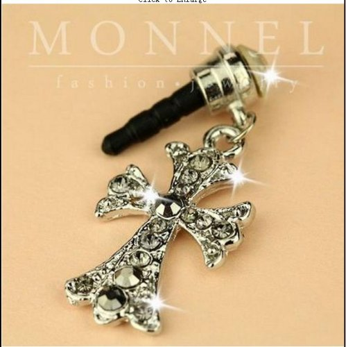 Ip165 Luxury Crystal Cross Anti Dust Plug for Cell Phone