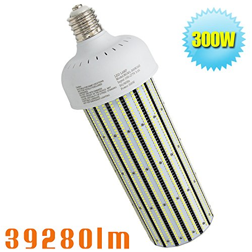 1500Watt Metal Halide Warehouse High Bay Light Replacement 300W LED Corn Light Bulb,HID,HPS Retrofit,Large Mogul E39 Base,6000K Daylight White in Workshop,Storage Room by Caree-LED