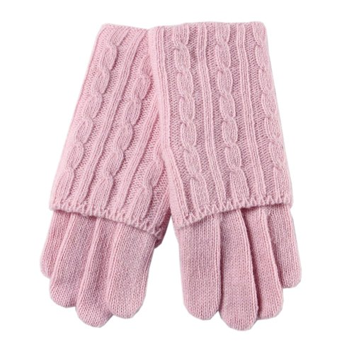 Warmen Lady's Elbow Long Fingerless Wool Knit Gloves Mittens Winter Hand Warmer (Pink)