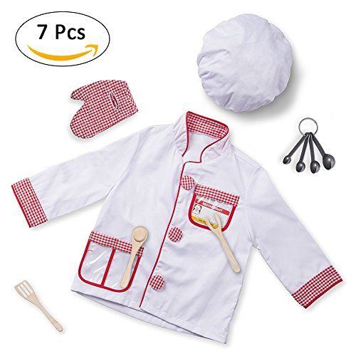 Biback Chef Role Play Costume/Cooking Dress up Set/Kitchen Pretend Play Kits -Educationl Toy Gifts for Kids Spoon Costume Set