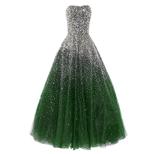 with Long Gowns Women's Evening Pageant Rhinestones Dresses Darkgreen Prom Luxury Dressesonline aIXHq