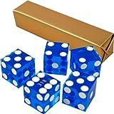 Stick of 5 Blue Precision Casino Razor Edge Craps Dice - Comes with 5 Standard Bonus Dice!