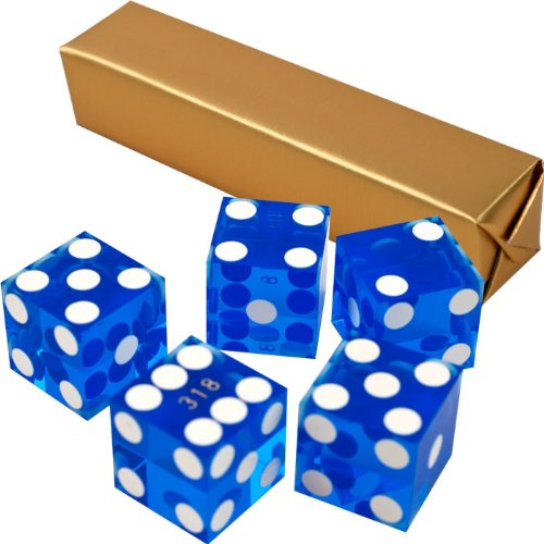 Stick of 5 Blue Precision Casino Razor Edge Craps Dice - Comes with 5 Standard Bonus Dice! by TMG