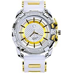 Men Techno Pave Hip Hop Iced Out Bling Diamond Gold / Silver 2 Tone Silicone Watches WR 8344 TTWH