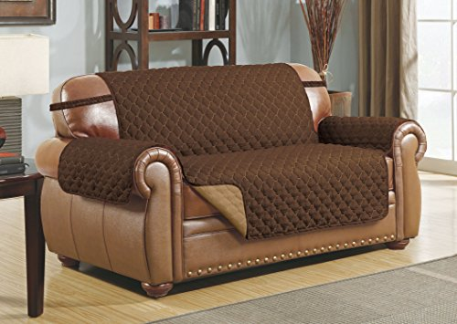 Linen Store Quilted Reversible Microfiber Pet Dog Couch Furniture Protector Cover Loveseat (Coffee / Tan)