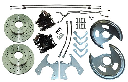 64-77 GM 10 12 bolt Rear Axle End Disc Brake Conversion Kit CROSS DRILLED ROTORS (N-3-1) (12 Bolt Rear Axle)