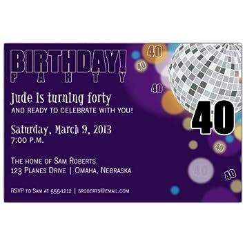 amazon com disco purple 40th birthday invitations health