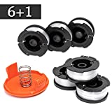 FutureWay String Trimmer Replacement Spool Line 0.065' GH900 LST201 Compatible with Black Decker AF-100, Weed Eater String Autofeed RC-100-P Cap, Cordless Trimmer Line 30ft, 6 Spool + 1 Cap + 1 Spring