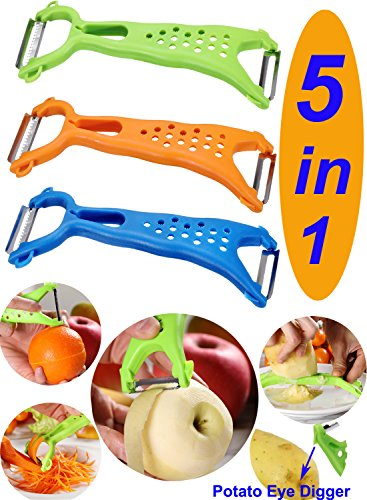 (Wasson CLAS Vegetable Dual Y Fruit Apple Potato Orange Carrot Veggie Julienne Slicer Sharp Stainless Steel Serrated Blade Peeler Classic Zester Tool 3 Sets Green O)