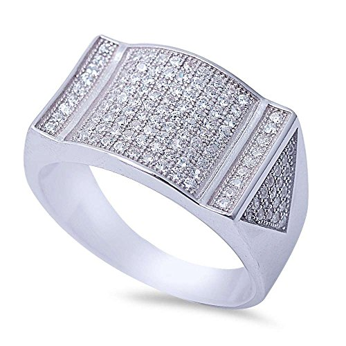 Micro Pave Ring (Men's Micro Pave Cubic Zirconia .925 Sterling Silver Ring Sizes 8-12 (8))
