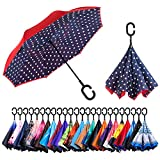 Newsight Reverse/Inverted Double-Layer Waterproof Straight Umbrella, Self-Standing & C-Shape Handle & Carrying Bag for Free Hands, Inside-Out Folding for Car Use (Dots Design)