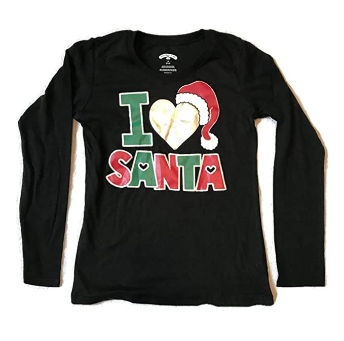 75a7d66a Girls Christmas Shirts, Long Sleeve Holiday Graphic Tshirts with Glitter  Accents (Love Santa,