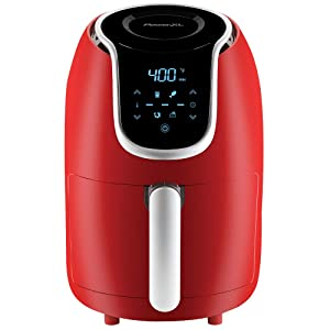 PowerXL Air Fryer Vortex - Multi Cooker with Roast, Bake, Reheat Non Stick Coated Basket, Cookbook (2 QT, Red)